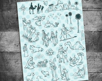 nativity stamps, christmas stamps, bible journaling, religious journal, project life, december daily, scrapbook, Starving Artistamps