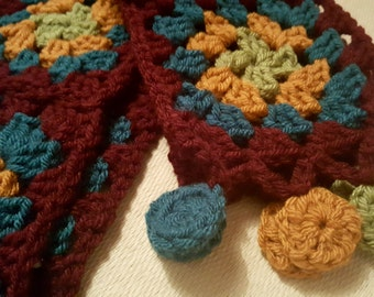 Chunky Granny Square Scarf