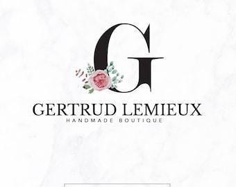 Premade logo - Initials Logo - Boutique logo - custom logo design - floral logo - luxury logo branding - flowers logo leaf logo branch logo