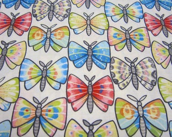 Multi Color Butterfly Cotton Fabric Called Luminaria Designed by julie Paschkis for In The Beginning Fabrics