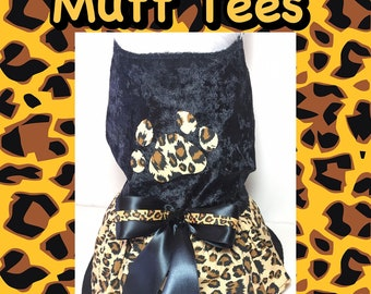 Dog harness dress leopard cheetah print with matching hair bow a Mutt Tees exclusive!