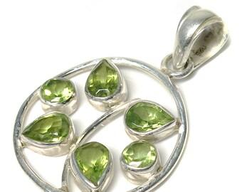 Silver Peridot pendant, free shipping solid 92.5 sterling silver peridot pendant, green color pendant, August birthstone pendant