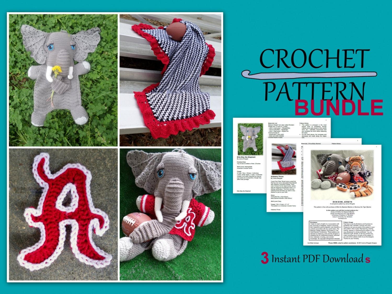 Alabama crochet pattern bundle elephant jerseys houndstooth this is a digital file bankloansurffo Images