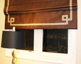 "Flat Roman Shade ""Greek Key"", Chocolate brown with Beige Ribbon, with chain mechanism and geometric black trim"