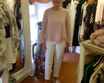 Rose pink sheer top with diamanté stud detail at front around the neckline