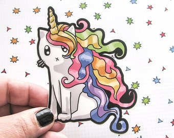 Rainbow Caticorn Sticker, Cat Laptop Sticker, Car Sticker, Bumper Sticker, Vinyl Sticker, Cute Cat, Unicorn