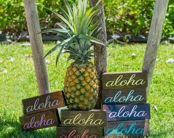 Aloha -Aloha Sign - Aloha Mini Sign - Wood Sign - Hawaiian Decor - Wedding Favor - Gift