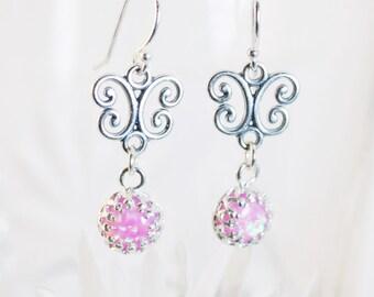 Opal Earrings, Dangle Earrings, Pink Opal, Sterling Silver, Butterfly Earrings, Silver Earrings, Drop Earrings, Opal Earrings Silver