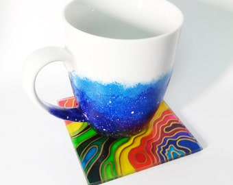 Cup Coaster Rainbow Glass Hand painted multi colored coaster