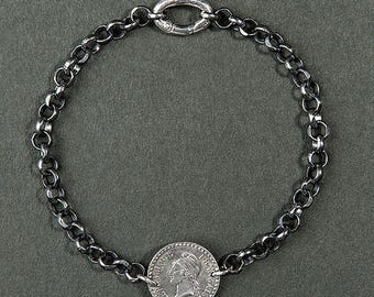 Marianne revolutionary bracelet / coin and silver chain