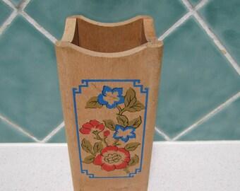 Vintage Wooden Asian Pencil Holder - Brush Holder -  Vase - 1950's