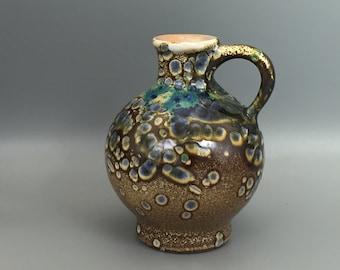 """Marei Keramik 6306. ,, Snake skin glaze """" Mid Century   1970s  handled vase   West Germany. WGP."""