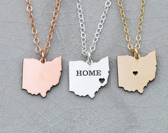 Ohio Gift State Necklace Ohio Charm State Jewelry Ohio • Pendant Rose Gold State Silver Sterling Custom State • Small Friend Gift