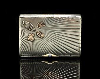 Antique original cigarette case  perfect silver russian hand made