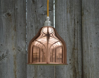 Small pure copper vintage hanging pendant light with nickel Eddison bulb fitting