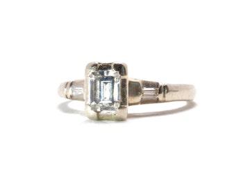 SALE   Emerald Cut Engagement Ring   Vintage   Illusion Setting   White Gold   14k   Size 6   Item 79816