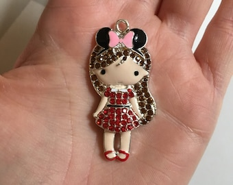 P107 Girl with Pink Bow Pendant for Chunky Necklaces
