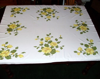 Vintage Tablecloth with Yellow Flowers