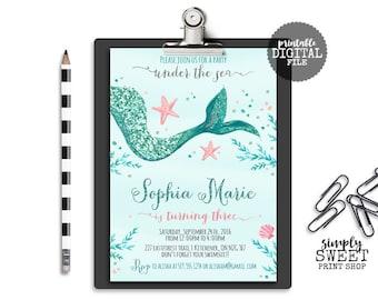 Mermaid Girl Birthday Invite Invitation Starfish Star Fish Seashell Sea Under Water Turquoise Blue Pink Silver Glitter Tail Bubble Whimsical