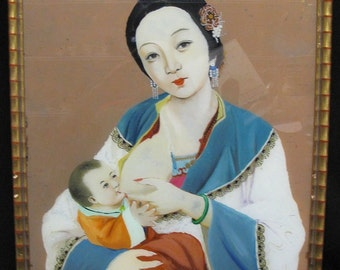 Antique Gong Beo - Mother Nursing Chinese Reverse Painting on Glass