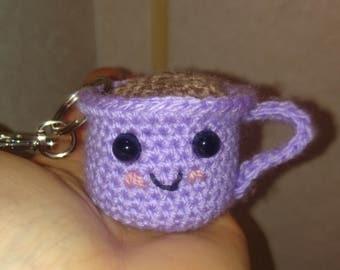 Crochet teacup keyring