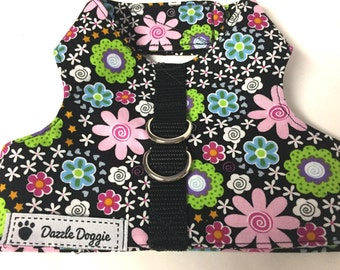 Dog harness, jacket harness, Velcro harness, black dog harness, puppy harness, flower harness, adjustable harness, dog gift, pet gift