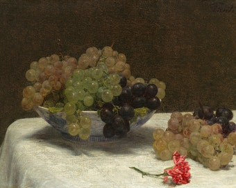 Henri Fantin-Latour: Still Life with Grapes and a Carnation. Fine Art Print/Poster. (003959)