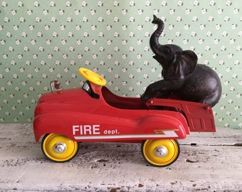 Metal Toy Fire Engine Pedal Car Replica by Xenox, 1:3 Scale, Limited Edition from 1992, Red Hook & Ladder Fire Truck Toy