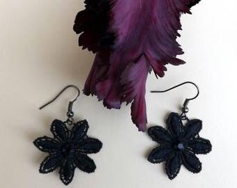 """Black chandelier lace Earrings """"Black Daisy"""" - boho earrings - chandelier earrings - unique jewelry"""