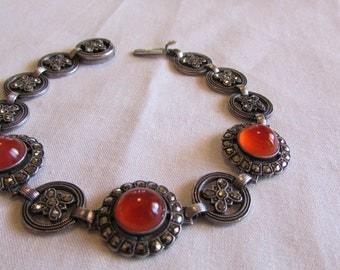 Sterling Silver Carnelian and Marcasite Link Bracelet