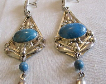 Sterling Silver and Blue Stone Dangle Wire Earrings