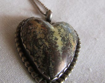 Sterling Silver Heart Necklace with Unusual Stone