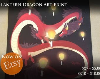 Lantern Dragon Fantasy Art Print - By Mythka
