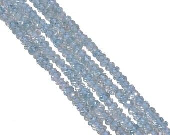 Aquamarine 4mm Faceted Roundel Beads strand, Aquamarine Faceted Roundel Beads, Aquamarine Stone Beads