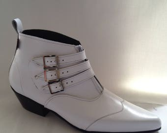 3 Buckle Beat Boots in White Leather