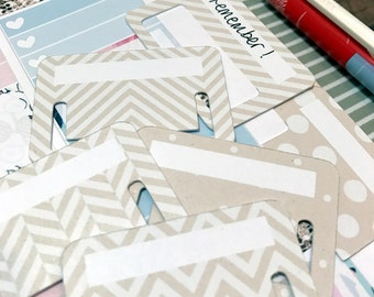 Tuck Tabs - Planner Tabs - Removable Planner Tabs. Set of 18. Kraft