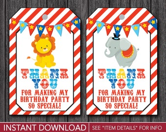 Circus Birthday Favor Tags - Carnival Thank You Party Favor Tags - Printable Digital File - INSTANT DOWNLOAD