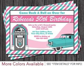 50's Birthday Invitation - Sock Hop Theme - 1950's Fifties Invitation