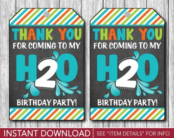 H2O Birthday Favor Tags - H20 Water Party Favor Tags, 2nd Birthday, Summer, Kids, Pool Party - Printable Digital File - INSTANT DOWNLOAD