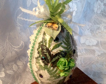 """Free shipping!  Large hand painted and decorated Easter egg, decoupaged egg, """"sugar"""" egg,"""