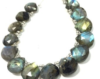 AAA Blue flash Labradorite faceted heart shape briolettes loose gemstone beads , labradorite stone necklace