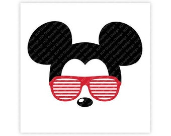 Disney, Mickey Mouse, Sunglasses, Icon Minnie Mouse Head, Mouse Ears, Digital, Download, TShirt, Cut File, SVG, Iron on, Transfer