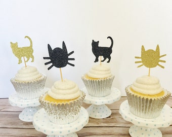 Cat cupcake toppers/ Cat Toppers/ Cat Party Toppers/Meow/ set of 12