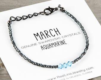 March Birthstone Bracelet, Aquamarine Birthstone Bracelet, Aquamarine Bracelets, Aquamarine Jewelry, Aquamarine Birthstone, Birthday Gift