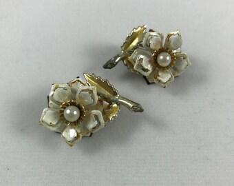 White enamel flower with pearl center clip on earrings