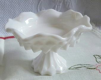 Pedestal milk glass trinket dish