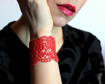Lace bracelet cuff ! Choose your colour!Rose lace bracelet in red, black, grey. Gift for her