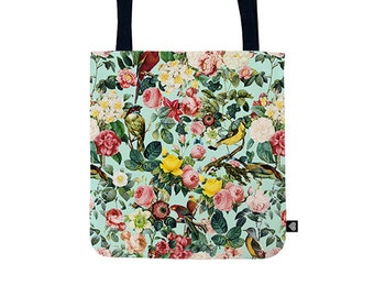 Floral and birds Tote Bag