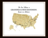Grandma Long Distance Map Print Personalized Map Print Two States Map Gift for Grandma Birthday Best Friend Long Distance Present - 48477