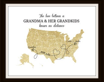 Grandma Long Distance Map Print Personalized Map Print Two States Map Gift For Grandma Birthday Best